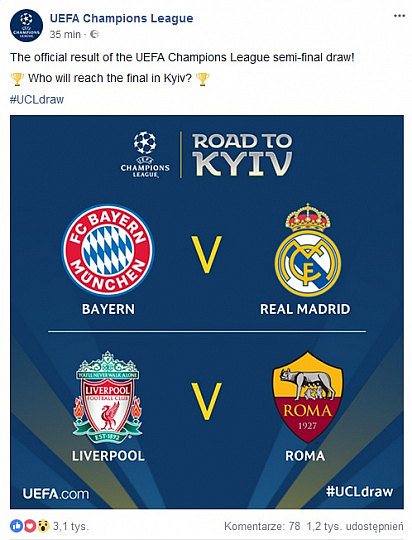 Bayern vs Real FC Liverpool vs Roma