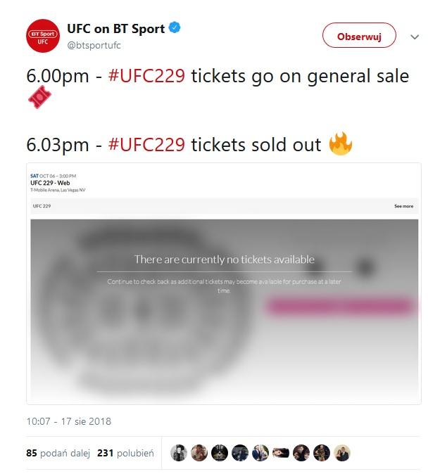 UFC 229 bilety
